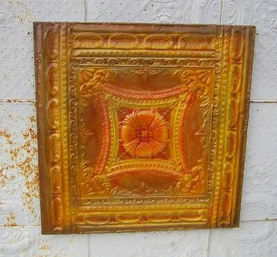 "38"" X 38"" Antique Ceiling Tin Wall Art by Lori Daniels - Painted in Orange's"