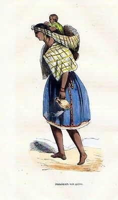 1845 Quito Ecvador South Africa Trachten Holzstich costumes antique print