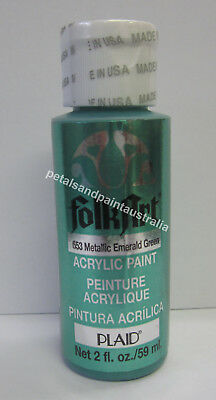 59ml Plaid Folk Art Acrylic Paint 653 Metallic Emerald Green For Painting Craft