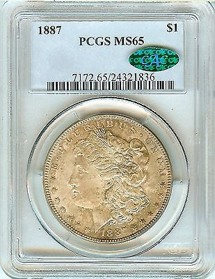 1887 Morgan PCGS MS65 Silver Dollar CAC Approved Toned Beauty