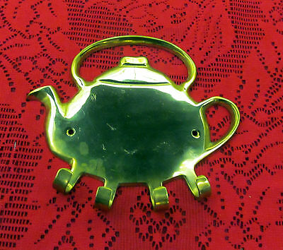 Beautiful Vintage Brass Teapot Wall Decor With Four Hooks  Made In India