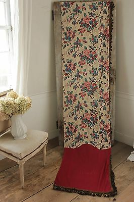 Antique Curtain French 1870 century  look chine PRINTED cotton w/ trim