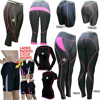 SHADOW Ladies compression tights shorts top cycling running baselayer padded GYM