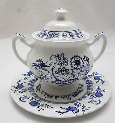 Classic J & G Meakin English Ironstone, Blue Nordic, Sugar Bowl & Pie Plate