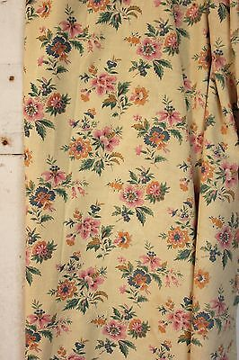 Vintage cotton fabric yellow floral French material 1920's CUTTER