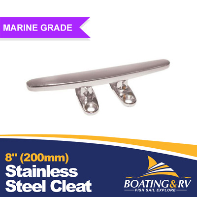 """8"""" 200mm 316 Stainless Steel Boat Cleat Marine Grade Open Base Deck Cleats"""