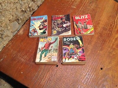 lot de 5 comics :RODEO 58,NERO KID 14,BLITZ 10,LONG RIFLE 14,COMMANDO 264
