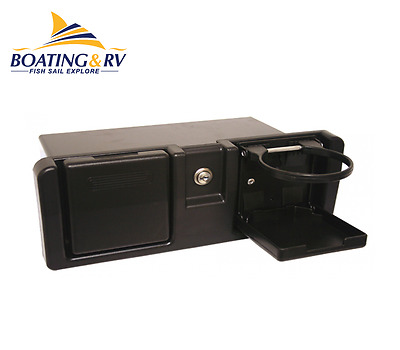 Marine Boat Glove Box - Black Plastic Storage Box With Cupholder & Key Lock