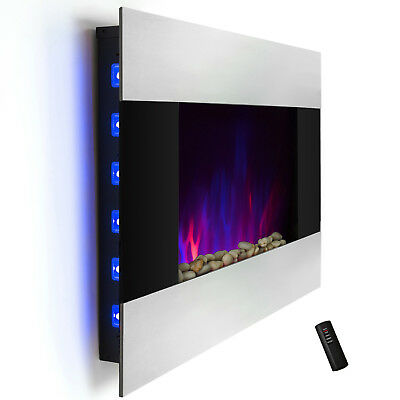 "36"" Wall Mount Log Pebble 2-in-1 Stainless Steel Electric Fireplace Stove Heater"