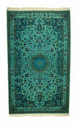 Overdyed Persian Nain Vintage Rug Teal 4 Ft. 1 In. x 6 Ft. 7 In.