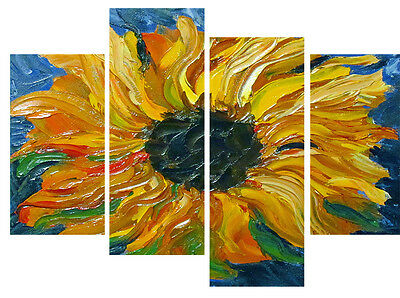 """Sunflower Oil Painting Canvas Artwork Picture Multi 4 Panel 40"""" X 28"""""""