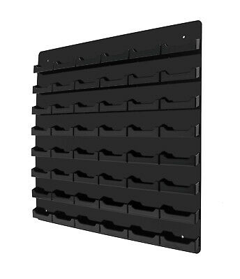 48-Pocket Black Acrylic Wall-Mount Business Card Holder