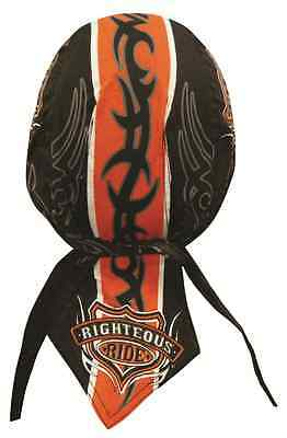 Righteous Ride Orange Black Headwrap Sweatband Durag Bandanna Free Shipping