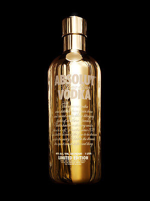 NEW ABSOLUT BLING BLING COLLECTORS GOLD EDITION 1 L Skin MINT CONDITION