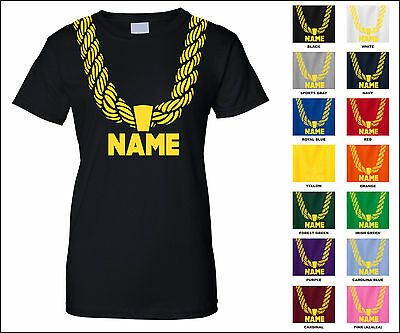 Gold Chain Custom Personalized Name Metallic Print Hip Hop Funny Woman's T-Shirt