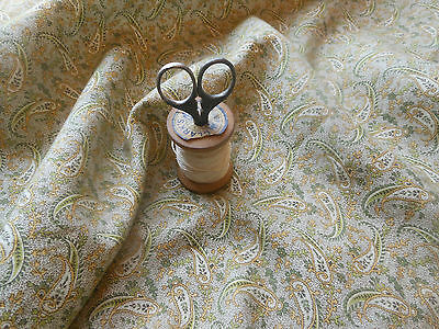 Antique Jacobean Paisley Cotton ~ Olive Green & Mustard Yellow ~ dolls quilts
