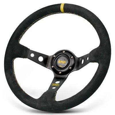 350mm OMP Corsica Deep Dished Black Yellow Stitch Suede Sport Steering Wheel