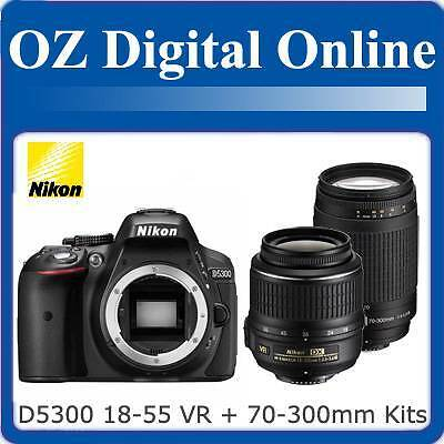 New NIKON D5300 18-55 VR II + 70-300mm Twin Kits Full HD 24MP DSLR 1 Year Au Wty