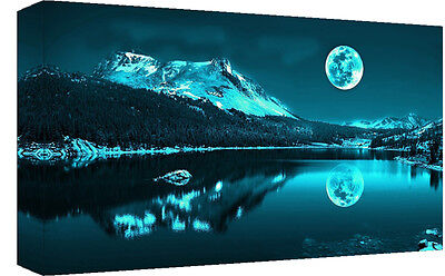 Duck Egg Blue Moonlit Lake Cotton Canvas Wall Art Picture Print - A1, A2 sizes