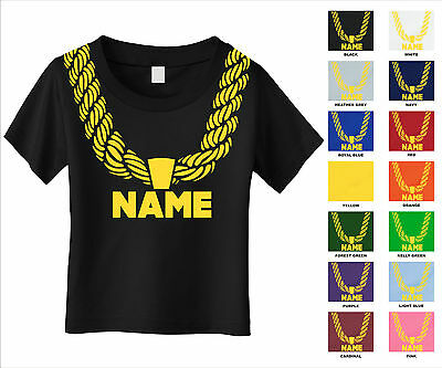 Gold Chain Custom Personalized Name Metallic Print Hip Hop Funny Toddler T-Shirt