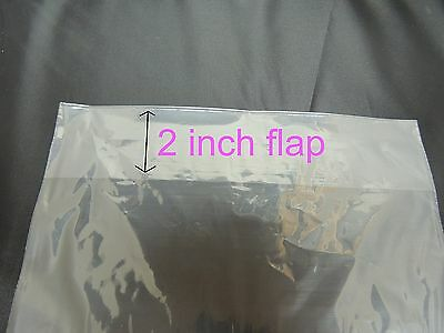 """200 9 x 12 POLY T - SHIRT CLEAR PLASTIC BAGS 2"""" BACK FLAP 1 MIL CLOTHING Quality"""