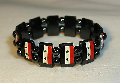 New Syria Bracelet - Stretchable Metal Chrome Syrian Flags Wristband