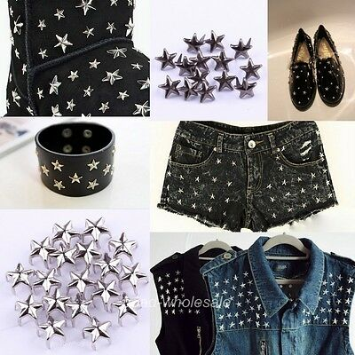 200pcs Five-Pointed Star Shaped Rivet Nailhead Studs for Costume Craft 7mm 12mm