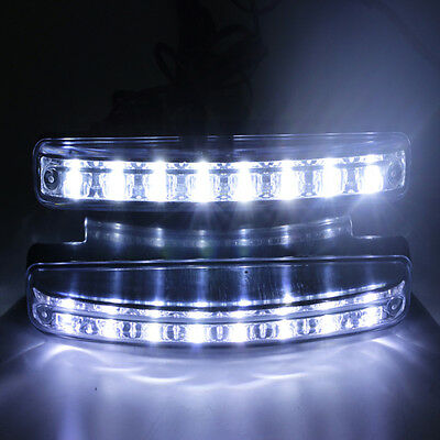 2x 12V DC Car Daytime Running Light 8 LED DRL Daylight Head Lamp Super White