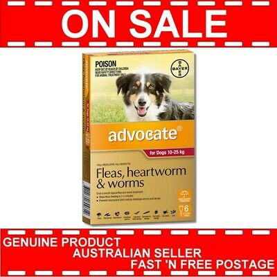 Advocate for Dogs 10-25kg 6 Months Pack  * GENUINE 6pk *
