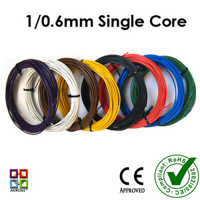 1/0.6mm Single Core Equipment /Hook up Wire 10m Rolls-22AWG -11 Colours