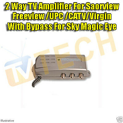 2 Way TV Distribution Amplifier Booster with Bypass Sky Magic Eye Saorview , TV