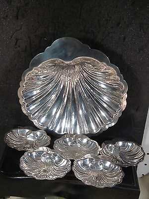 Sterling SHELL CANDY DISH & 8 MATCHING BON BON BOWLS