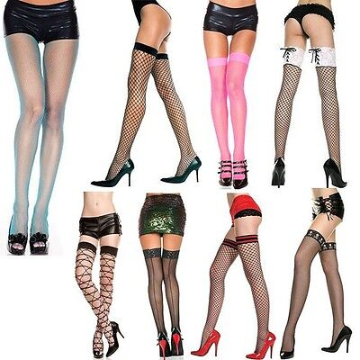 Plus/Reg Fishnet Diamond Net Thigh High Seamless Stockings Pantyhose Tights OS