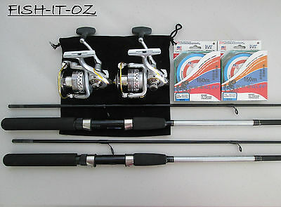 Daiwa Sweepfire Spinning Rod  Spinning Reel 2000  Spectra Line Twin Rod Combo