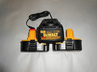 (2) New Dewalt 18V DC9096 NiCd Batteries and DW9116 battery Charger