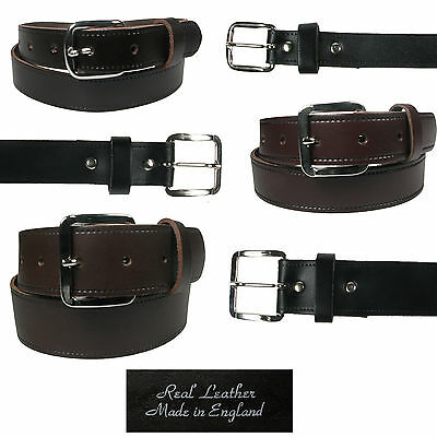 """Mens Full Leather Belt for Trousers and Jeans, 3 widths and sizes 28-48"""" Waist"""