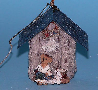 "Boyds Bears mini birdhouse ornament ""Betsey"" #654452-1 Christmas NIB USA flag"