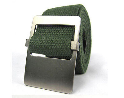 Mens Cotton Fabric Canvas Webbing Belt Military belt Silver Buckle Ladies Unisex