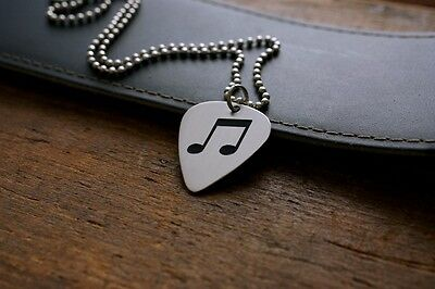 Hand Made Etched Nickel Silver Guitar Pick Necklace  Beamed Eighth Musical Notes
