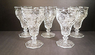 "SET/5 McKEE ""ROCK CRYSTAL"" LOW WATER GOBLETS 7.5oz"