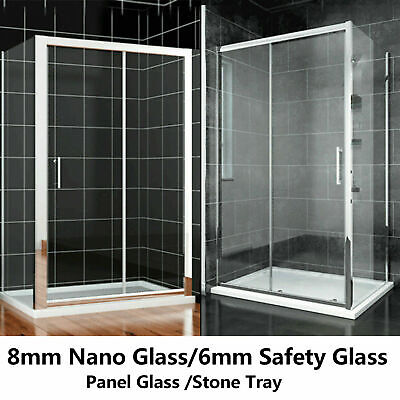 New Double / Single Sliding shower enclosure cubicle  safety glass screen door