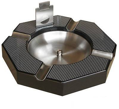 Huge Carbon fiber print 4 cigar Ashtray with cutter, Brand New!