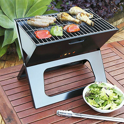 Portable Fold Flat Folding BBQ Grill Picnic Camping Charcoal Foldable Barbecue