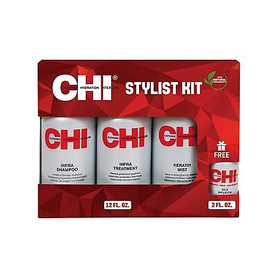 CHI Set 4-tlg.: Infra Shampoo 350ml Keratin Mist 350ml Treatment 350ml Silk 50ml