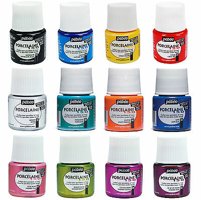 PEBEO PORCELAINE 150 CHINA ENAMEL PAINTS GLOSSY & SHIMMER COLOURS 45ml POTS