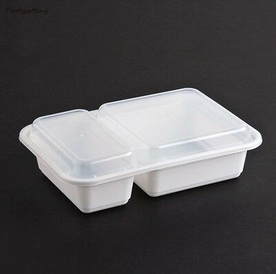 """Tripak MT2850 White 30oz 6""""X8"""" 2 Compartment Microwavable Container w/Lid 150ct"""