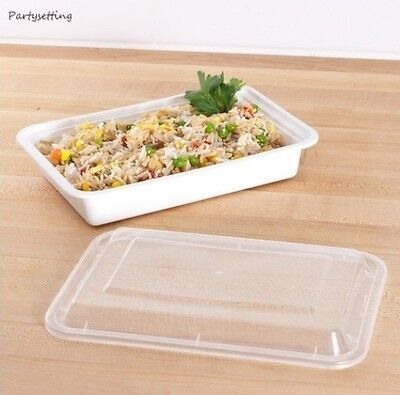 Tripak MT6310W White 28oz VERSAtainer 8x6 Rect Microwavable Container w/Lid 150