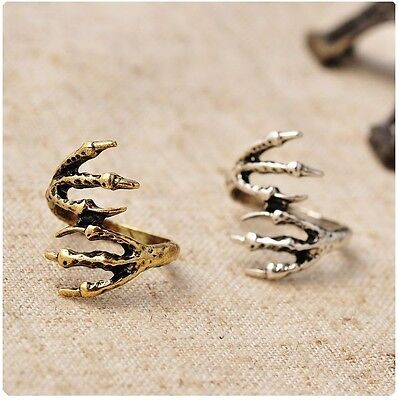 Goth Punk Vintage Bronze/Antique Silver Eagle Claws Pinkie Ring Size H