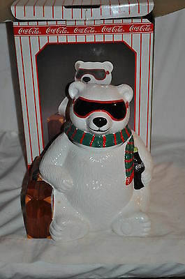 "1996 ""HOLLYWOOD"" COCA COLA POLAR BEAR COOKIES CONTAINER JAR!! new old stock #2"