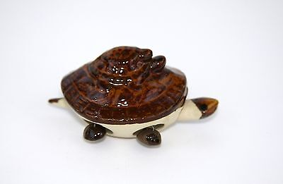 Feng Shui Brown Turtle Three Stacked Bobbing Head Tail Feet Ceramic Figurine
